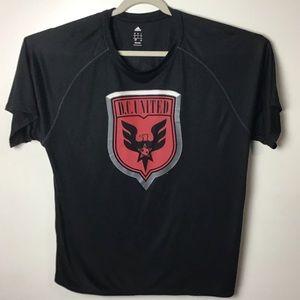 DC United soccer Adidas black s/s tee. Large